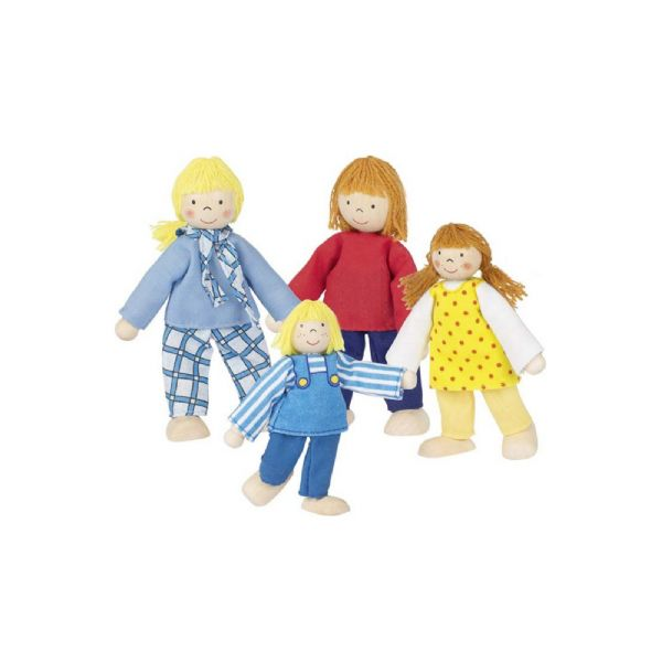 Goki Young Family Set Of 4 Flexible Wooden Figures For Dolls House